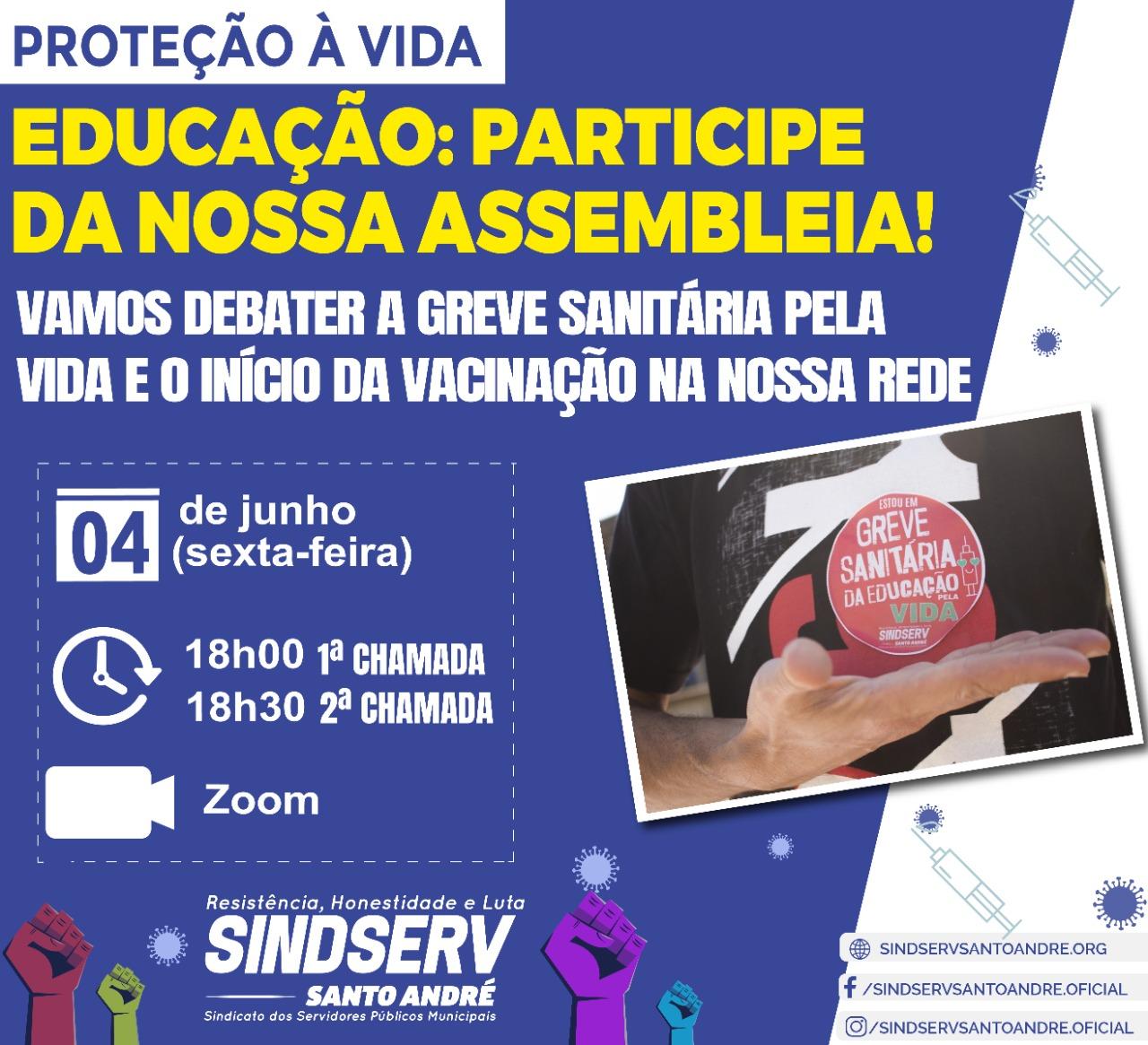Imagem de Sindserv Santo André convoca Assembleia com Trabalhadores da Educação