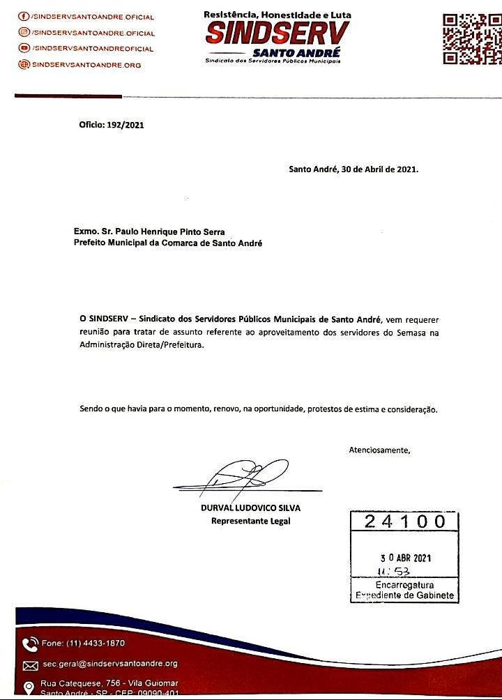 Imagem de Sindserv Santo André protocola pedido de reunião com Paulo Serra sobre SEMASA