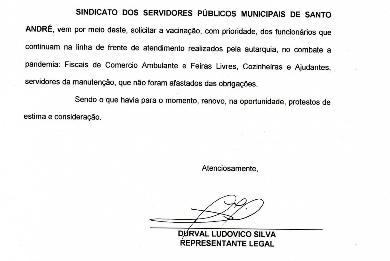 Imagem de Sindserv Santo André pede à Prefeitura vacinação prioritária para servidores da CRAISA